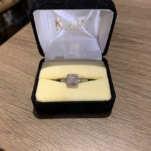 Tolkowsky half carat white gold engagement ring